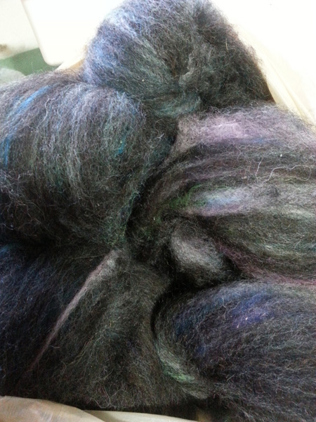 Naturally black wool blended with dyed wool